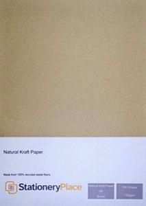 Stationery Place - Papier Kraft Marron 100% recyclé - Format A4 130gm - Pack de 100 feuilles de la marque Stationery Place Eco Kraft Paper image 0 produit