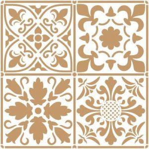 Stencil Décoration Fond 0972couches pour carrelage. Stencil Taille: 20x 20cm Design Taille: 18,2x 18,2cm de la marque TODO-STENCIL image 0 produit