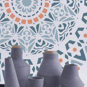 Stencil mural Roseton 001. Mesures: mesure extérieure du Stencil: 30 x 30 (cm) mesure du motif: 28 x 28 (cm) de la marque TODO-STENCIL image 0 produit