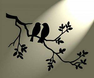 Style shabby chic Pochoir 2oiseaux dans un arbre rustique style vintage Format A3420x 297mm pour mur Art de la marque Solitarydesign image 0 produit