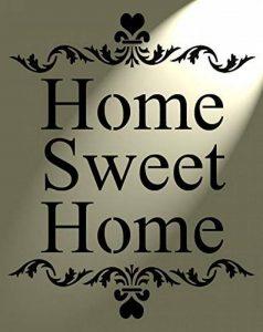 Style shabby chic rustique Pochoir Motif cœur Inscription Home Sweet Home Style vintage art mural A4297x 210mm de la marque Solitarydesign image 0 produit