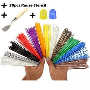 Stylo 3D Filament refills- bouns 20réutiliser pochoirs en plastique papier stencil-3d ebook-2Glow in the Dark couleurs -1Spatule -2Gant en Silicone pour protéger finger-1.75mm–ABS universel–12unique RAINBOW COLORS 32pieds chaque couleur par att image 0 produit