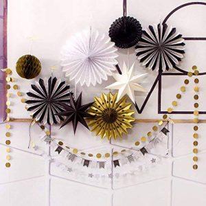 SUNBEAUTY Decoration Noir Blanc Or Lot de 10 Rosaces Papiers Pompon Doree Suspension Etoile pour Deco Paques Bapteme Fete de la marque SUNBEAUTY image 0 produit