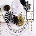 SUNBEAUTY Decoration Noir Blanc Or Lot de 10 Rosaces Papiers Pompon Doree Suspension Etoile pour Deco Paques Bapteme Fete de la marque SUNBEAUTY image 2 produit