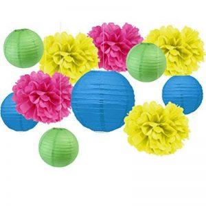 SUNBEAUTY Mariage Decoration Salle Bleu Vert Jaune Fushia Lanterne Papier Pompon de Papier Soie Chambre Fenetre Deco … de la marque SUNBEAUTY image 0 produit