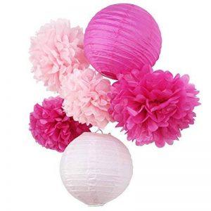 SUNBEAUTY Pompon Papier de Soie Lampion Papier Rose Fuchsia pour Mariage Anniversaire Fille Saint Valentin Decoration Noel Lot de 6 de la marque SUNBEAUTY image 0 produit