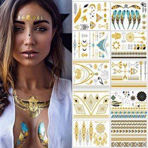 Tatouages Temporaires – Meersee 10 Planches de Tatouages éphémères métalliques Étanche brillants motifs variés de la marque Meersee image 0 produit