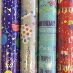 The Big Card Company Lot de 4 rouleaux de papier cadeau Motif en anglais Happy Birthday de la marque The Big Card Company image 2 produit