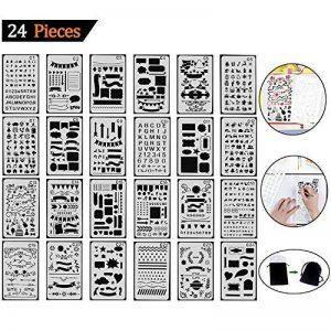 Tian Pochoirs Peinture Kit avec Sac de Toile Exquis -24pcs 7.0 x 4.1 Inches Plastique Pochoir Stencil Dessin Peinture Set pour Bullet Journal / Planner / Portable / Agenda / Scrapbooking de la marque Tian image 0 produit