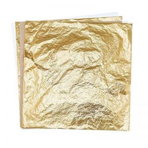 Tiffley temps 100feuilles de papier imitation Feuille d'or Feuille de dorure Craft Masque Feuille de transfert Surface dorure DIY 5.5'' doré de la marque Tiffley Time image 0 produit
