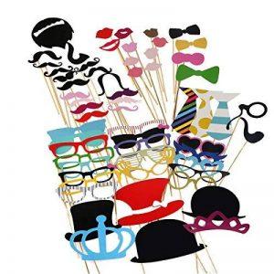 TinkSky 60pcs Accessoires Photobooth Masquerade Accessoires de Photos Lèvre/ Lunettes/ Cravate/ Couronne/ Lunettes/ Moustache Avec Bâton de la marque TinkSky image 0 produit