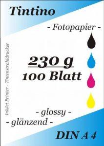 Tintino Papier Photo Format A4pour imprimante à jet d'encre, 100feuilles, 230g/m?, extra brillant, Waterproof, à séchage rapide, pour couleurs strass, Couleur: Blanc de la marque Tintino image 0 produit