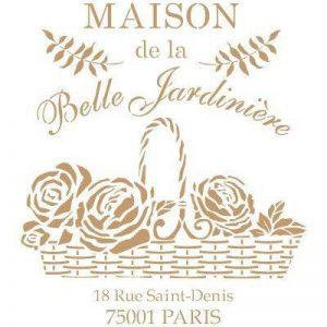 Todo-Stencil Composition 215 Pochoir décoratif vintage Maison Belle Jardin Mesures extérieures du pochoir 25x 25cm Mesures du motif 22x 20cm de la marque TODO-STENCIL image 0 produit