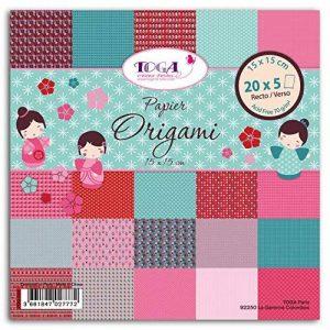 Toga POG004 Kokeshi Lot de 100 Feuilles origami Papier Multicolore 15 x 15 x 1 cm de la marque Toga image 0 produit
