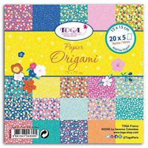 Toga POG009 Fleurs du Japon Lot de 100 Feuilles origami Papier Multicolore 15 x 15 x 1 cm de la marque Toga image 0 produit