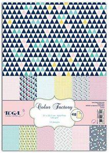 Toga PPK011 Géométrique Pastel Lot de 48 Feuilles imprimées Papier Multicolore 21 x 29,7 x 0,1 cm de la marque Toga image 0 produit