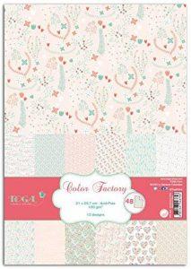 Toga PPK022 Cœurs & Feuillages Lot de 48 Feuilles imprimées Papier Multicolore 21 x 29,7 x 0,1 cm de la marque Toga image 0 produit