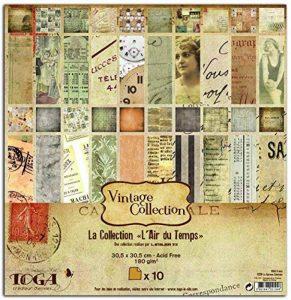 Toga PS34 Vintage Lot de 10 Feuilles Papier Multicolore 30,5 x 30,5 x 0,1 cm de la marque Toga image 0 produit