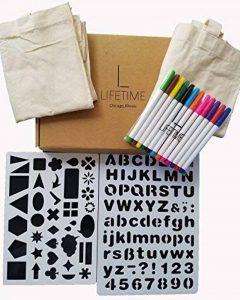 Tote-ally Fun kit de décoration de bricolage avec 2 sacs en toile, 12 marqueurs de tissu et 2 pochoirs de la marque Lifetime Inc image 0 produit