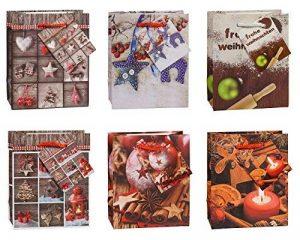 TSI 87026 Lot de 12 pochettes cadeau, 6 motifs de Noël, format petit 14x 11x 6,5cm de la marque TSI image 0 produit