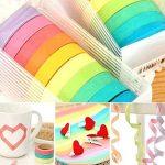 UClever Ruban Washi Adhésif, Bandes Adhésives Masking Tape d'emballage Papier Décoratif (10 couleurs) de la marque UClever image 3 produit