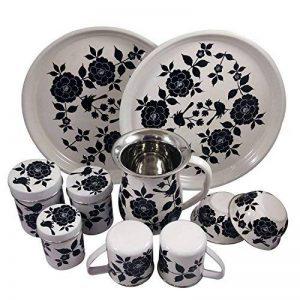 Vaisselle peint à la main en acier sur Lot de 10pièces Ensemble cadeau exclusif par Kashmiri Artisans I Home & Cuisine Décor | salle à manger et pour servir de la marque India Meets India image 0 produit