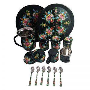 Vaisselle peint à la main en acier sur Lot de 16pièces Ensemble cadeau exclusif par Kashmiri Artisans I Home & Cuisine Décor | salle à manger et pour servir de la marque India Meets India image 0 produit