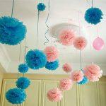 WINOMO 25CM Multicolores Pompon Boule de Fleur en Papier de Soie pour la Décoration de Mariage Fête Baby Shower 10pcs de la marque WINOMO image 3 produit