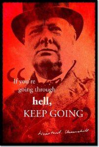 """Winston Churchill Poster Photo """"Going through hell"""" (Avec Reproduction d'Autographe Signé) Oeuvre Imprimée Unique Cadeau 30x20 cm affiche de la marque The Pop Culture King image 0 produit"""