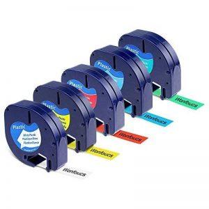 Wonfoucs 5 Rubans Compatible pour Dymo LetraTag 91201 91202 91203 91204 91205 Plastique Étiquettes, 12mm x 4m, Noir sur Blanc / Rouge / Jaune / Bleu / Vert Cassettes pour LT-110T LT-100H QX 50 XR XM de la marque Wonfoucs image 0 produit