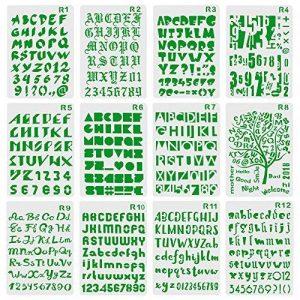 XDLink Lot de 12 Pochoir Chiffre et Letter Pochoir Alphabet Peinture Réutilisable Souple Majuscule Minuscule pour Scrapbooking Carte d'Anniversaire Décoration Murale de la marque XDLink image 0 produit