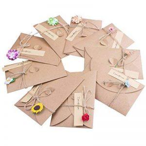 ZeWoo Carte de Voeux, Rétro Kraft Fait à La Main, Enveloppes Vierges, Fleurs Séchées Carte Postale Décorée pour Une Personne Spéciale et Une Occasion Importante de la marque ZeWoo image 0 produit