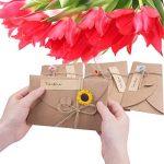 ZeWoo Carte de Voeux, Rétro Kraft Fait à La Main, Enveloppes Vierges, Fleurs Séchées Carte Postale Décorée pour Une Personne Spéciale et Une Occasion Importante de la marque ZeWoo image 3 produit
